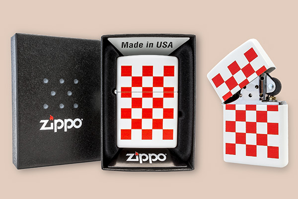 Zippo lighter with red and white squares